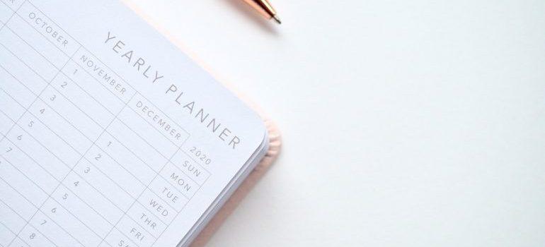 calendar with a pen