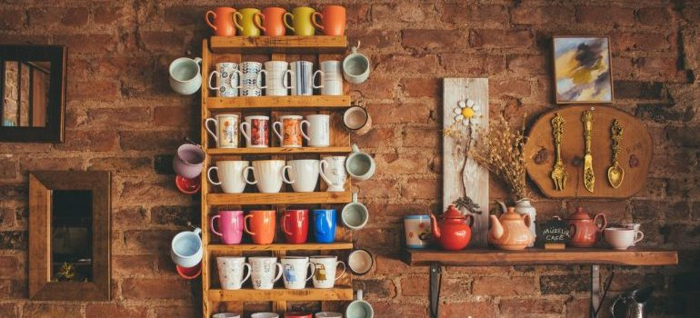 Different types mugs on display.